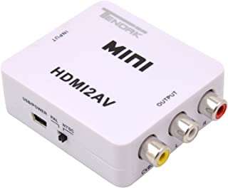 HDMI to RCA Converter, Tendak HDMI to AV 3RCA CVBs Composite Video Audio Converter Adapter Supporting PAL/NTSC with USB Ch...