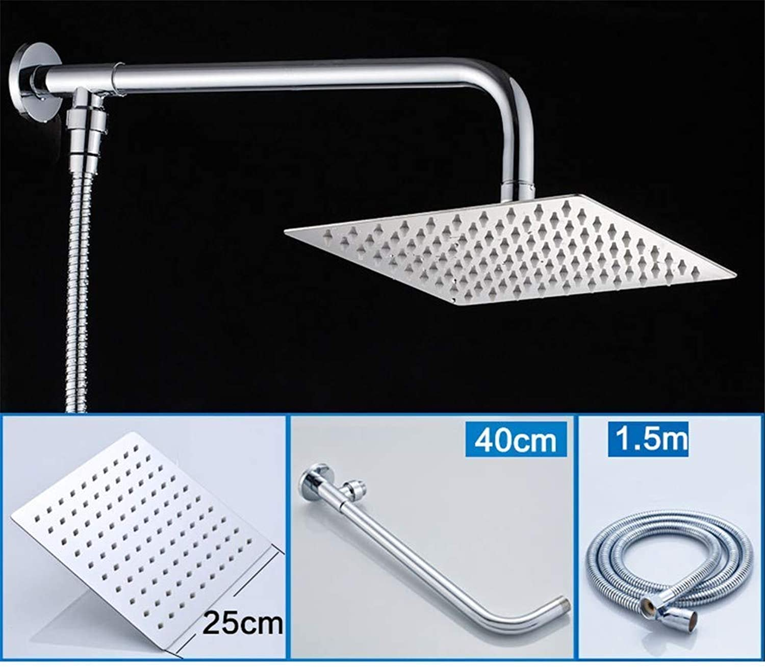 Oudan Taps Wall Mount 10 Inch Rainfall Round Shower Head With Shower Arm Shower Hose Stainless Steel Chrome Finished (color   -, Size   -)