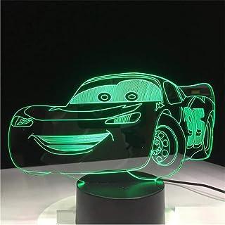 zonxn مسیر 66 چراغ رنگی اتومبیل مسابقه ای 3D 7 چراغ های شبانه بصری برای کودکان