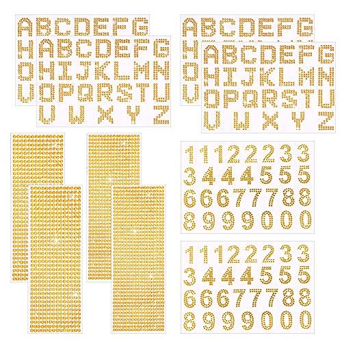 Allazone 12 Hoja Pegatinas de Letras Alfabeto Brillante, Pegatinas de Borde de Gemas Pegatinas de Letras Pegatinas Decorativas de Cristal Brillante para Arte de Bricolaje Manualidades