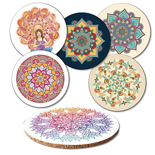 ADDIES Juego de 6 posavasos de cristal 'Mandala' con 6 diferentes diseños espirituales,...