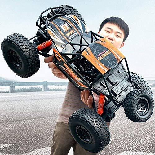 Coches de Control Remoto Off Road Fast Giant 1:10 2.4Ghz Radio Orange Hobby Electric High Speed ​​Racing Rock Crawlers Monster Truck Pies Grandes Aleación 4WD Drifting Escalada Regalo para niños