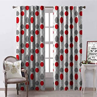 GloriaJohnson Mid Century 99% Blackout Curtains Big Circular Spots and Oval Shapes Combined with The Figures of Geometry for Bedroom Kindergarten Living Room W52 x L54 Inch Grey Red White
