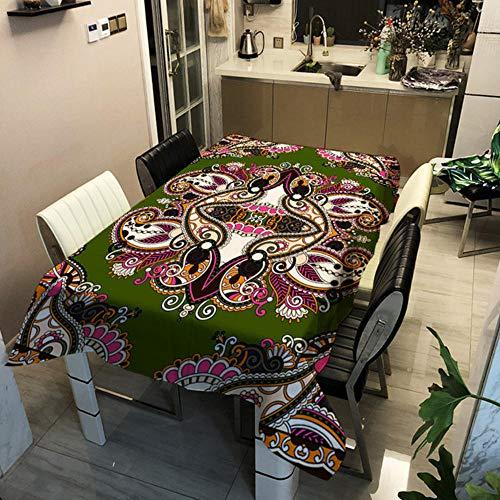GHGD 140X140Cm-Mantel Elefante Poliéster Impermeable Rectangular Boho Hogar Cocina Cena Mesa Escritorio Tela Picnic Cubierta Decoración