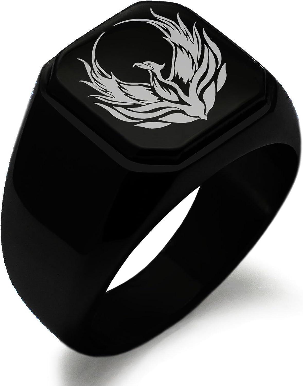 Stainless Steel Greek Mythology Phoenix Symbol Square Flat Top Biker Style Polished Ring