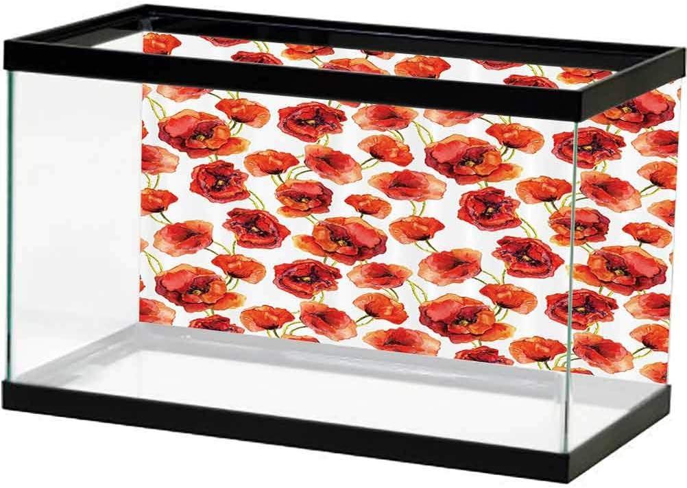 Poppy Store Decor Aquarium Background Sticker with Pattern Credence Popp Floral