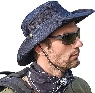 SportsWell Men's Outdoor Waterproof UPF 50+ Bucket Mesh Hat Summer UV Protection Sun Cap Boonie Fishing Hat