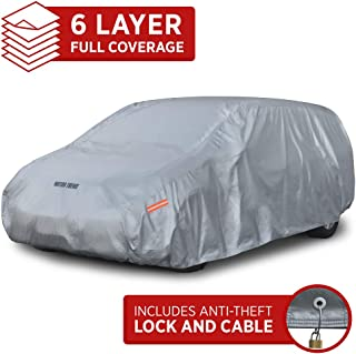 Motor Trend OV-640 TrueShield Waterproof SUV & Van Cover-Heavy Duty Outdoor Fleece-Lined Sonic Coating-Ultimate 6 Layer Protection (M-max Length 185