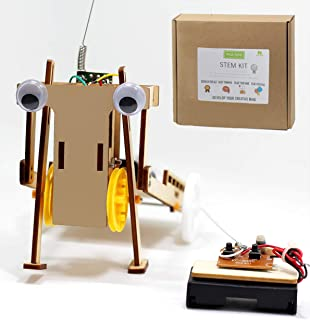 Pica Toys Wooden Wireless Remote Control Robot Pulling Car Creative Engineering Circuit Science STEM Building Kit with Electric Motor - Funny DIY Experiment for Kids, Teens and Adults