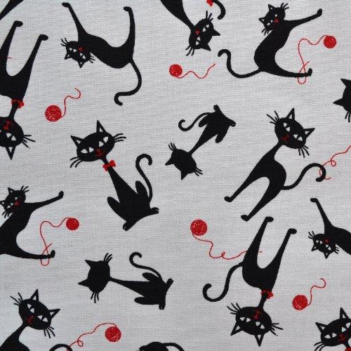 Textiles français Tela Gato descarado 'el Gato Negro' (Blanco y Negro) - 100% algodón Suave | Ancho: 140cm (1 Metro)