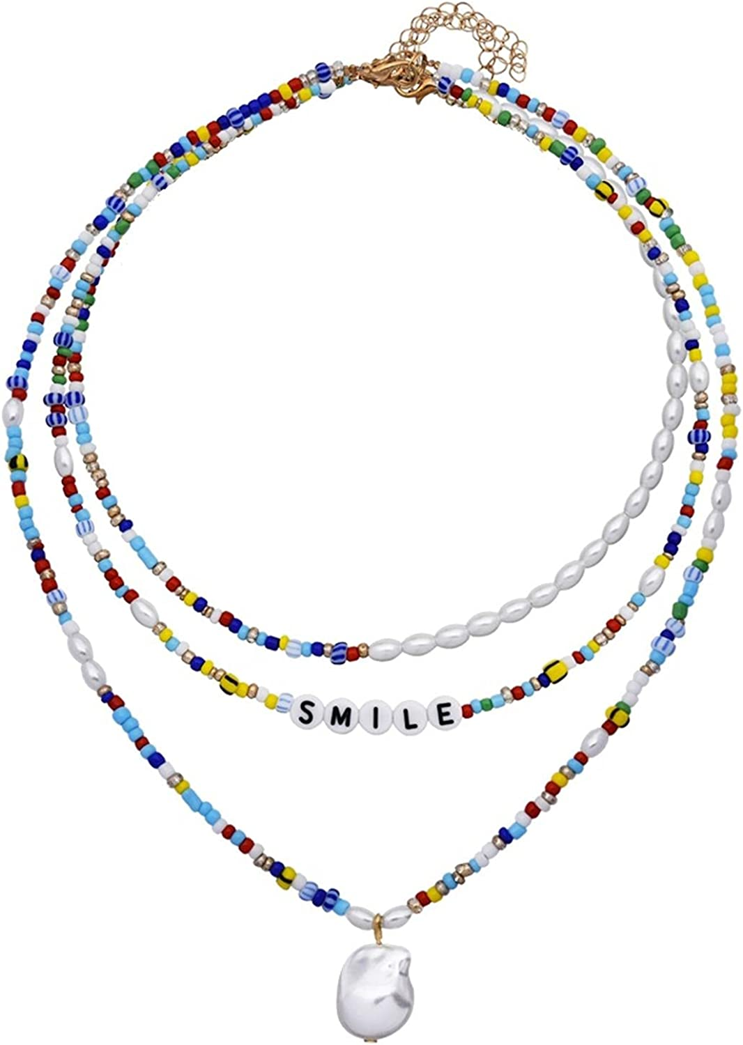 Colorful Beaded Multi Layer Short Clavicle Chain Choker Necklace Handmade Rainbow Seed Beads Choker Smile Letter Irregular Pearls Smiley Collar Jewelry for Women Girl