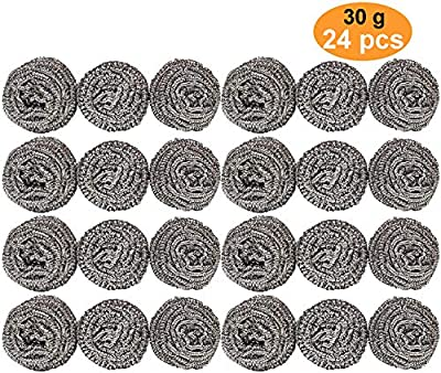 24 Pack Stainless Steel Sponges (30g) - Stainless Steel Scouring Pad, Steel Wool Scrubber, Metal Scouring Pads, Steel Wool Soap Pads, Cooking Utensil Cleaning Tools for Kitchens, Bathroom etc