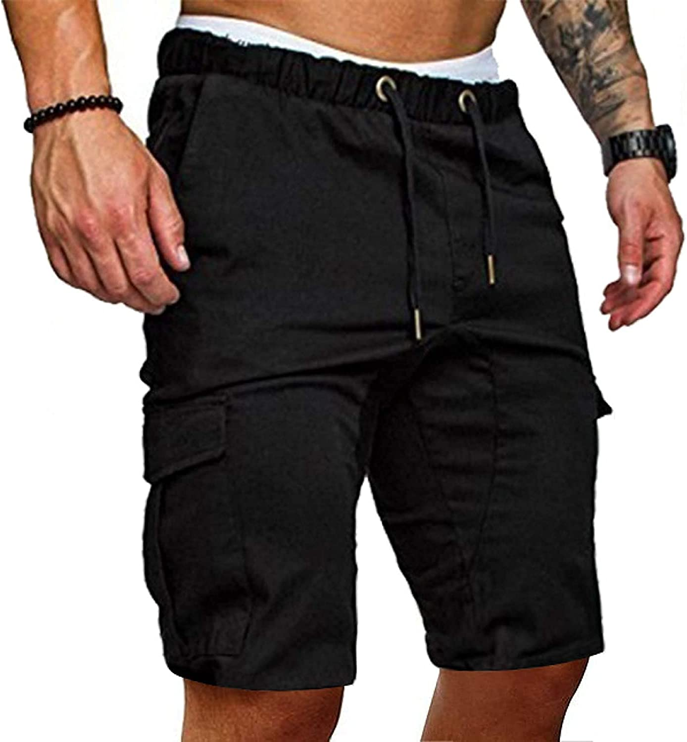 Men's Stitching Multi-Pocket Cargo Shorts Solid Color Casual Simple Fashion Black