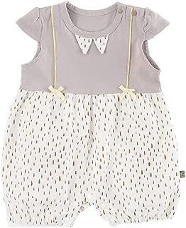 ALLAIBB Infant Girls Summer Romper One Piece Bodysuit With Cute Rain Drop Pattern Kids Casual Playwear Short Sleeve Cotton Bodysuit Contrast color Babys Romper Pajamas (0-3T)