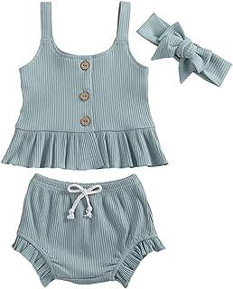 Kmbangi Toddler Baby Girl Plain Ruffle