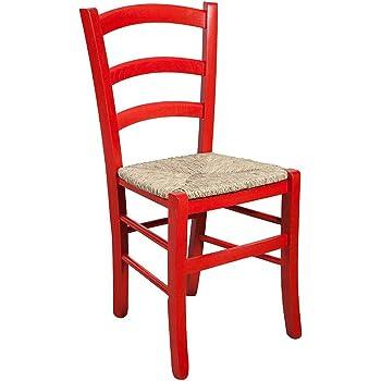Chaise en bois massif d' hêtre finition rouge laquée et assise paille L45xPR45xH88 cm