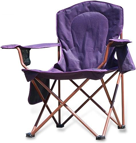 Chaise de Camping Pliante rembourrée de de Loisirs de Plein air, Porte-gobelet et directeurs à Dos Haut pour Dos Robuste, matériel de Camping portatif surdimensionné avec Le Haut pour Le Dos