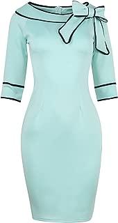 HELYO Women's 1950s Slim Half Sleeve Wear to Work Casual Office Pencil Dress 172