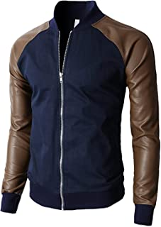 H2H Blue Brown Mens Size 2XL Faux Leather Zip-Front Baseball Jacket