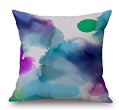 Abstract Design Watercolor Geometric Decorative Chair Cushion Cover Vintage Home Decor Sofa Throw Pillow Case Cotton,Linen Without Core,45x45cm No 9 Cover