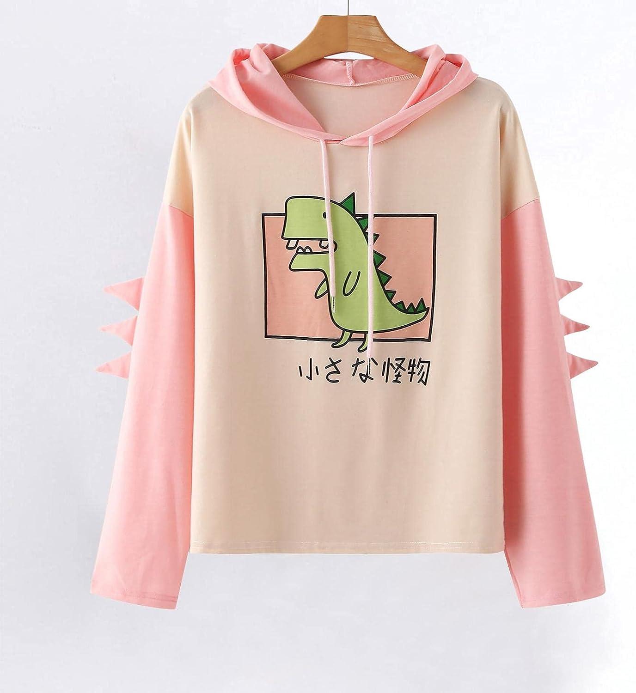 Hoodies for Women, Women's Dinosaur Sweatshirt Long Sleeve Splice Tops Cartoon Cute Hoodies Teens Girls Casual Pullover