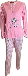 Mini kitten Pijama de Mujer de 3 Piezas con Algodon de Color Camiseta de Manga Larga con Estampado de Lunares y Pantalon Largo con Bata Elegante