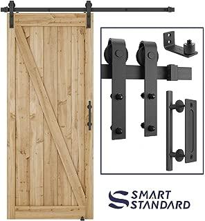 6 FT Heavy Duty Sturdy Sliding Barn Door Hardware Kit, 6ft Single Rail, Black, (Whole Set Includes 1x Pull Handle Set & 1x Floor Guide) Fit 36