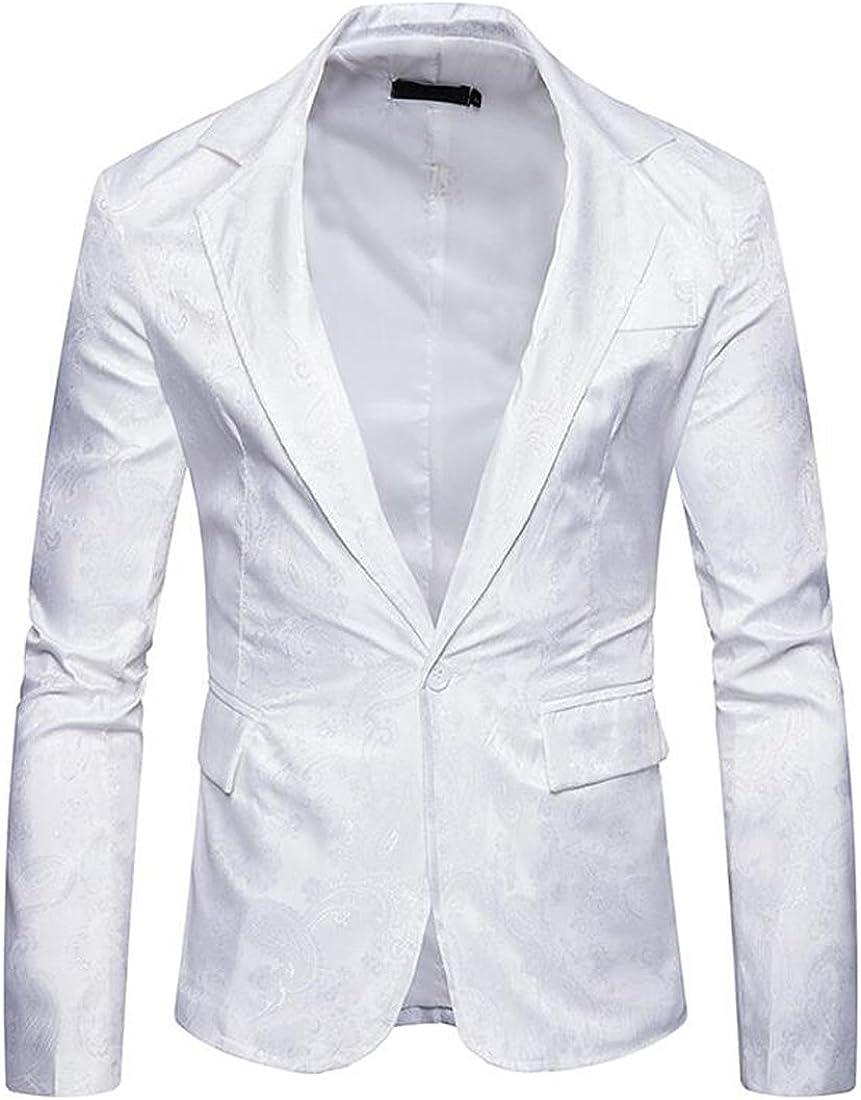 Adriat Men Outwear Fashion Turn Down Collar Casual Jacket Paisley Dress Suit Blazer