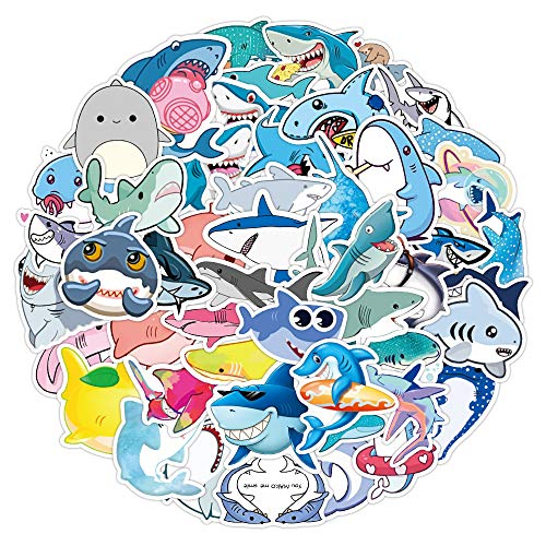 Shark Stickers 50 Packs, Afakit Waterproof Vinyl Stickers Shark Stickers for Snowboard Motorcycle Bicycle Phone Computer DIY Keyboard Bumper Luggage Decal Graffiti Patches for Kids Adult