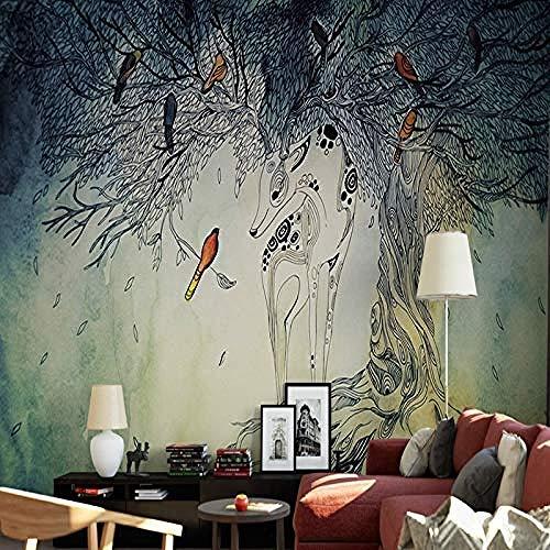Mural 3D papel tapiz bosque abstracto murales dormitorio sala de estar TV Fondo decorativo pape Pared Pintado Papel tapiz 3D Decoración dormitorio Fotomural sala sofá pared mural-350cm×256cm