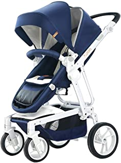 Baby Strollers Can Sit Reclining Folding High Landscape Light (Pink/Blue/Navy Blue) Baby Child Push Stroller (Color : Multi-Colored)