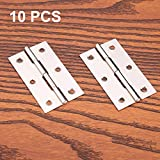 10 pcs acero inoxidable Home muebles Hardware Puerta Bisagra Larga 75 mm x 50 mm)
