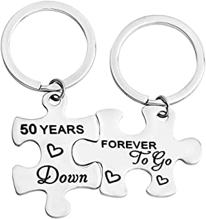 FEELMEM Couples Gifts 5th, 50th Years Down Forever to Go Puzzle Keychain Set of Two Wedding for Husband Wife