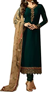 Ethnic Empire Women's Georgette Semi Stitch Salwar Suit (Ethnic_ER107101_Green_Free Size)
