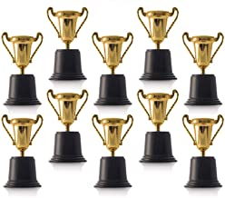Kicko Plastic Trophies - 12 Pack 5 Inch Cup Golden Trophies for Children, Competitions, Awards, Parties, Party Favors, Props, Rewards, Prizes, Games, School, Field Day, Boys and Girls