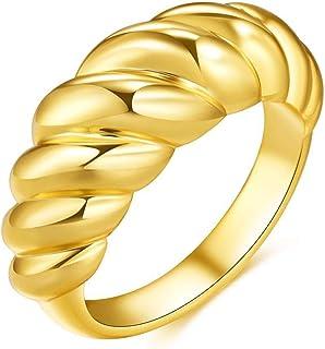 LINYIN Anello Filettatura 2PCS Creative Retro Ring Real Gold Plating Twist Ins Ring 6号 Ring