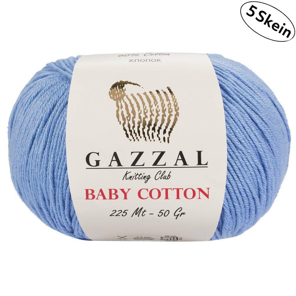 Gazzal Baby Cotton - 5 Ovillos de hilo para tejer 60 % algodón suave y fino para prendas de bebé, madejas de 50 g y 165 m Azul claro - 3423: Amazon.es: Hogar