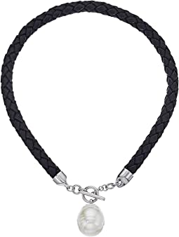 Majorica - Braided Leather Tog Necklace