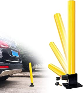 OKLEAD Folding Parking Lock Parking Post Fold Down Post Barrier Steel Security Park Sign for Driveways Garage