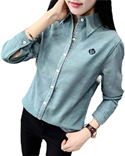 Howely Womens Thick Slim Fit Fall Winter Fleece Long-Sleeve Solid-Colored Shirt