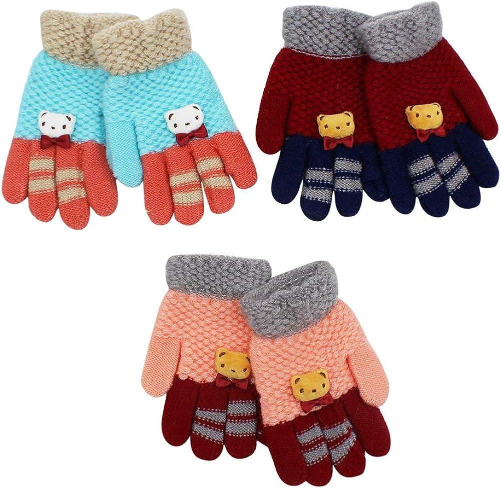 3 Pair Kids Winter Cloves Warm Knitted Gloves Cute Bear Full Finger Gloves for Girls Boys 3-7 Years Old