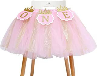Tutu Highchair Banner for 1st Birthday - Princess 1st Birthday Party,Pink Tutu Skirt Photo Booth Props and Backdrop Cake Smash,Best Princess Birthday Party Supplies for Baby Girl (One Tutu Skirt)