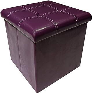 Footstool storage stool - purple wood structure stool - dressing table stool short stool - PU fabric toy storage box - can...