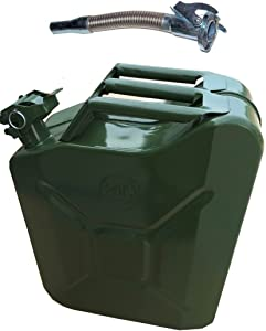 NEW METAL JERRY CAN LITRE GREEN MILITARY WITH STAINLESS Flexy Spout