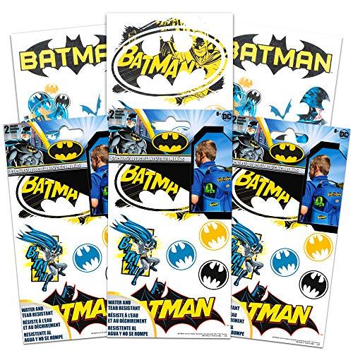 DC Comics Batman Stickers Decals Set -- 6 Sheets, Water & Tear Resistant Stickers for Laptop, Car, Backpacks (Batman Party Supplies)