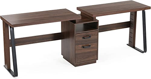 Tribesigns 94.5 inches Two Person Computer Desk, Double Computer Desk with Storage Shelves, Extra Long Workstation Large Office Desk with Two Drawers, Study Writing Desk for Home Office