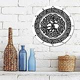 Silencioso Wall Clock Decoración de hogar de Reloj de Redondo,Figura Celta, árbol Celta Nativo de la Vida, Irlanda, diseño Moderno artístico renacentista,para Hogar, Sala de Estar, el Aula