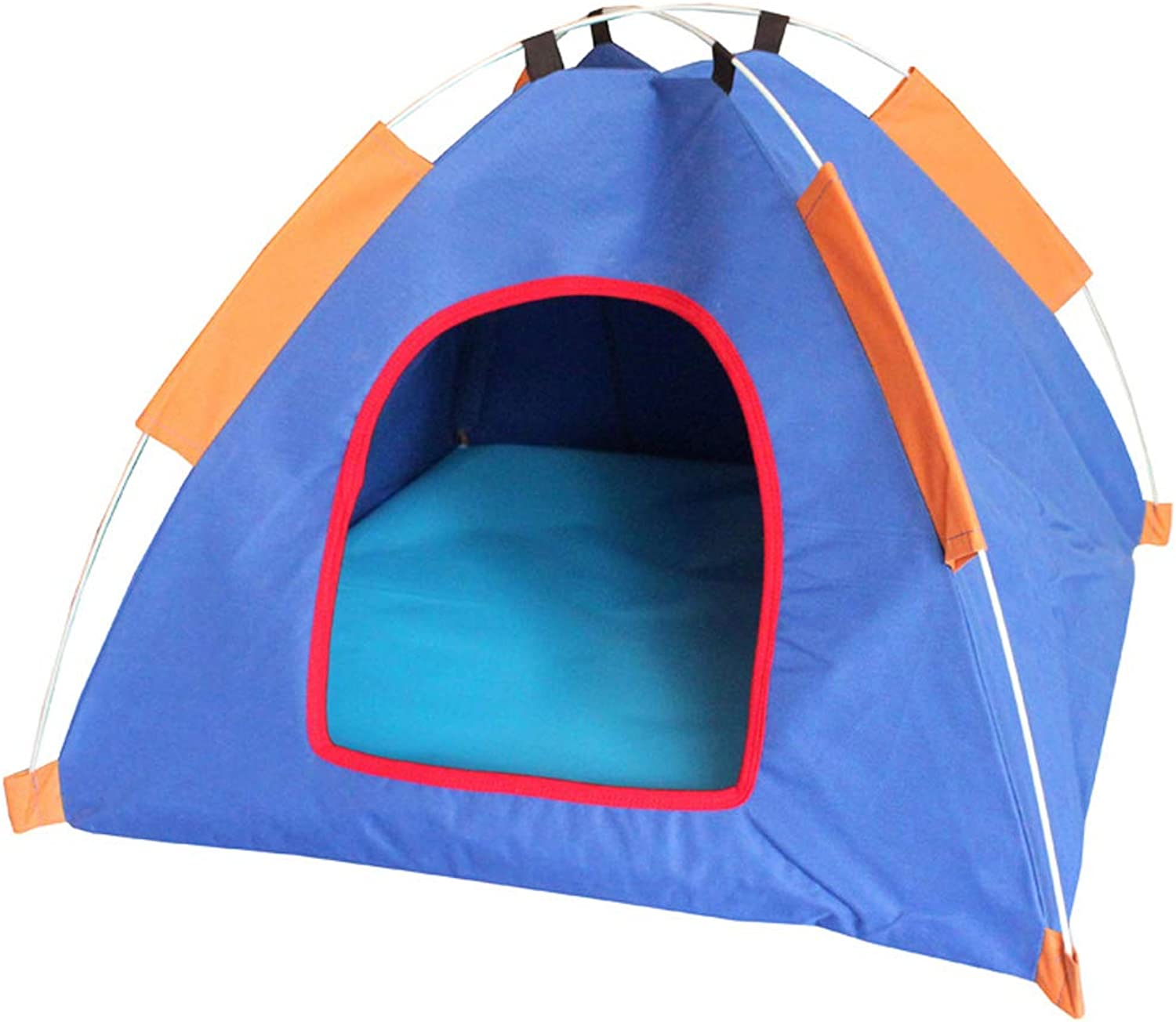 LITING Pet Nest Folding Tent Spring Travel Kennel Dog House Yurt Shape (color   Dark bluee)