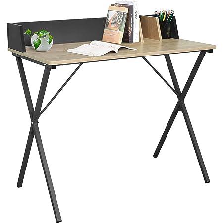 EUGAD 0074ZZ Table de Bureau Table d'ordinateur Table de Travail en MDF et métal 90x50x73cm,Chêne Clair