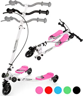 WOOKRAYS Y Fliker Wiggle Scooter 3 Wheel Swing Scooter Foldable Kick Speeder Kids Self Drifter for Boys and Girls Age 5 Ye...